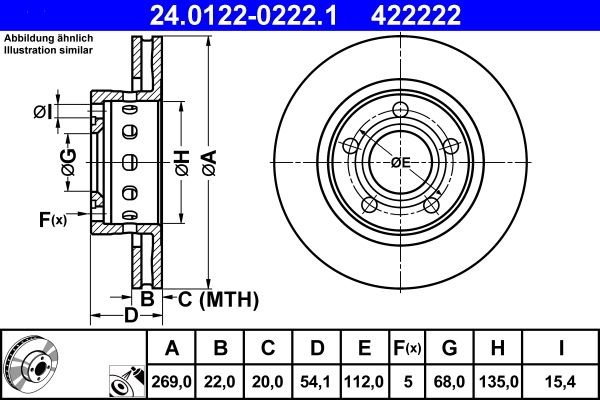 422222 ATE belüftet, beschichtet, hochgekohlt Ø: 269,0mm, Lochanzahl: 5, Bremsscheibendicke: 22,0mm Bremsscheibe 24.0122-0222.1 günstig kaufen