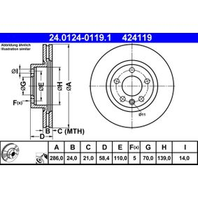 424119 ATE belüftet, beschichtet, legiert/hochgekohlt Ø: 286,0mm, Lochanzahl: 5, Bremsscheibendicke: 24,0mm Bremsscheibe 24.0124-0119.1 günstig kaufen