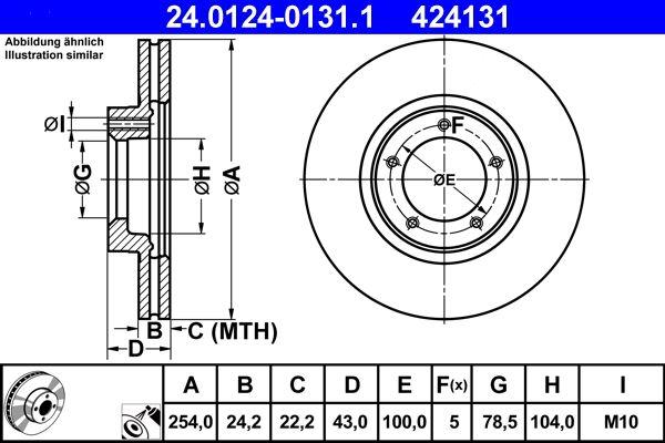 Купете 424131 ATE вентилиран, с покритие Ø: 254,0мм, брой на дупките: 5, дебелина на спирачния диск: 24,2мм Спирачен диск 24.0124-0131.1 евтино