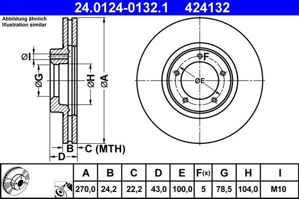 Купете 424132 ATE вентилиран, с покритие Ø: 270,0мм, брой на дупките: 5, дебелина на спирачния диск: 24,2мм Спирачен диск 24.0124-0132.1 евтино