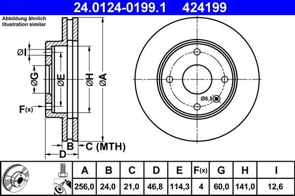 CHEVROLET LACETTI 2018 Bremsscheibe - Original ATE 24.0124-0199.1 Ø: 256,0mm, Lochanzahl: 4, Bremsscheibendicke: 24,0mm