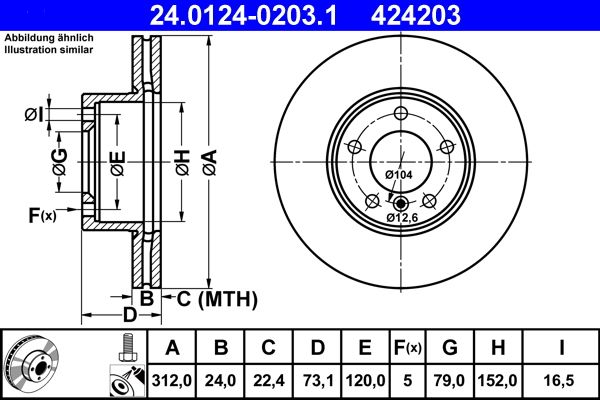 24.0124-0203.1 Brake Rotors ATE - Cheap brand products