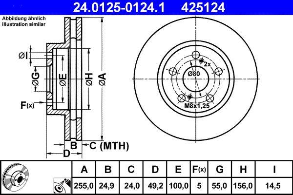 425124 ATE belüftet, beschichtet Ø: 255,0mm, Lochanzahl: 5, Bremsscheibendicke: 24,9mm Bremsscheibe 24.0125-0124.1 günstig kaufen