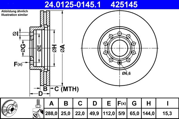 24.0125-0145.1 Brzdový kotouč ATE originální kvality