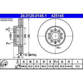 24.0125-0145.1 Bromsskiva ATE - Upplev rabatterade priser