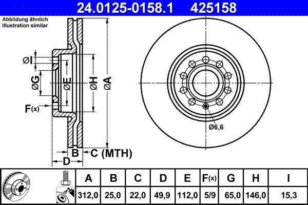 24.0125-0158.1 Bremsscheiben Satz ATE - Niedrigpreis-Anbieter