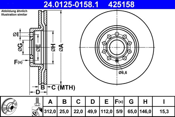 24.0125-0158.1 Scheibenbremsen ATE - Markenprodukte billig