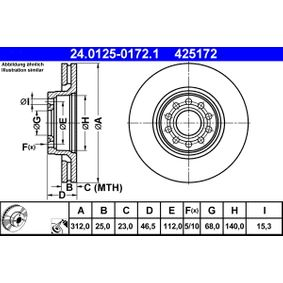 425172 ATE belüftet, beschichtet, hochgekohlt Ø: 312,0mm, Lochanzahl: 5, Bremsscheibendicke: 25,0mm Bremsscheibe 24.0125-0172.1 günstig kaufen