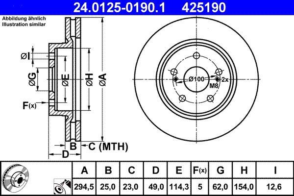 SUZUKI GRAND VITARA 2018 Bremsscheibe - Original ATE 24.0125-0190.1 Ø: 294,5mm, Lochanzahl: 5, Bremsscheibendicke: 25,0mm