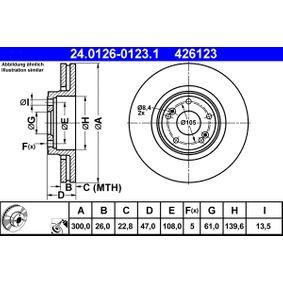 426123 ATE belüftet, beschichtet, hochgekohlt Ø: 300,0mm, Lochanzahl: 5, Bremsscheibendicke: 26,0mm Bremsscheibe 24.0126-0123.1 günstig kaufen