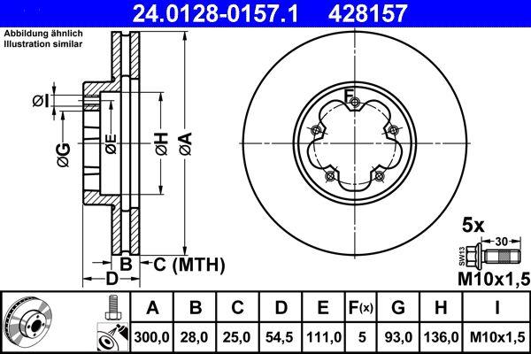ATE Спирачен диск 24.0128-0157.1