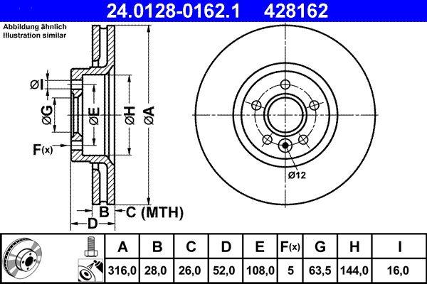 24.0128-0162.1 Scheibenbremsen ATE - Markenprodukte billig