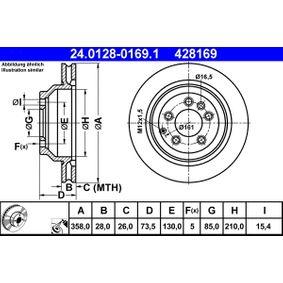 428169 ATE belüftet, beschichtet, legiert/hochgekohlt Ø: 358,0mm, Lochanzahl: 5, Bremsscheibendicke: 28,0mm Bremsscheibe 24.0128-0169.1 günstig kaufen