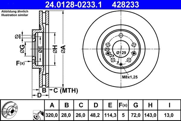 MAZDA CX-7 2007 Tuning - Original ATE 24.0128-0233.1 Ø: 320,0mm, Lochanzahl: 5, Bremsscheibendicke: 28,0mm