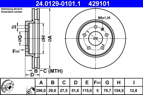 CHEVROLET CAPTIVA 2014 Scheibenbremsen - Original ATE 24.0129-0101.1 Ø: 296,0mm, Lochanzahl: 5, Bremsscheibendicke: 29,0mm