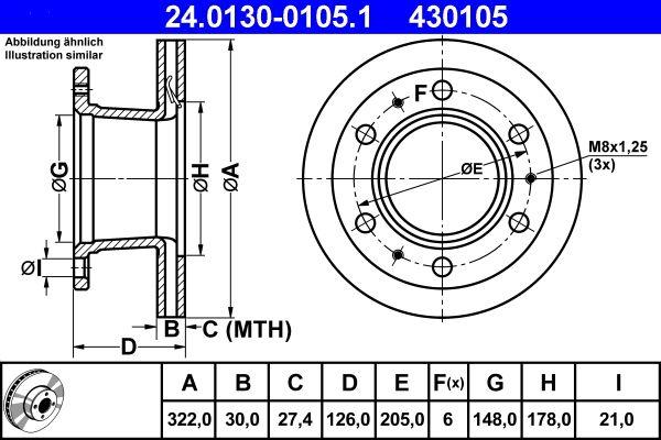 Disco freno ATE 24.0130-0105.1 per FORD: acquisti online