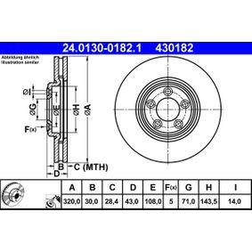 430182 ATE belüftet, beschichtet Ø: 320,0mm, Lochanzahl: 5, Bremsscheibendicke: 30,0mm Bremsscheibe 24.0130-0182.1 günstig kaufen