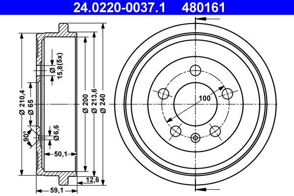 ATE: Original Bremstrommel 24.0220-0037.1 ()