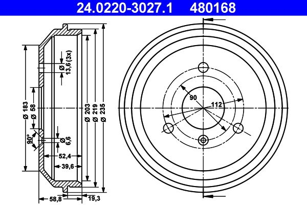 Brake drum 24.0220-3027.1 ATE — only new parts