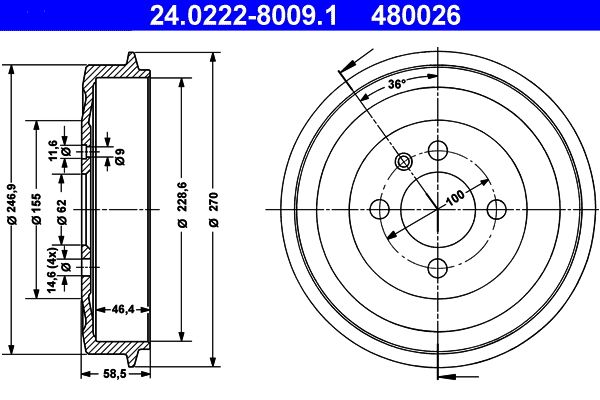 Brake drum 24.0222-8009.1 ATE — only new parts