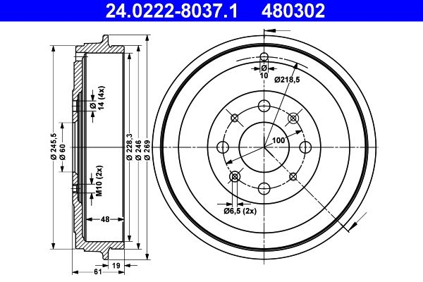 Brake drum 24.0222-8037.1 ATE — only new parts