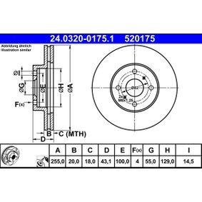 520175 ATE PowerDisc belüftet, beschichtet Ø: 255,0mm, Lochanzahl: 4, Bremsscheibendicke: 20,0mm Bremsscheibe 24.0320-0175.1 günstig kaufen