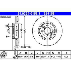 524158 ATE PowerDisc belüftet, beschichtet, legiert/hochgekohlt, mit Schrauben Ø: 280,0mm, Lochanzahl: 4, Bremsscheibendicke: 24,0mm Bremsscheibe 24.0324-0158.1 günstig kaufen