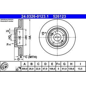 526123 ATE PowerDisc belüftet, beschichtet, hochgekohlt Ø: 300,0mm, Lochanzahl: 5, Bremsscheibendicke: 26,0mm Bremsscheibe 24.0326-0123.1 günstig kaufen