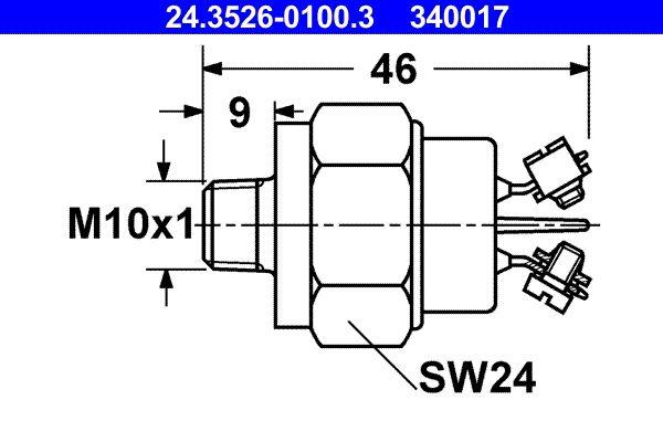 Brake light switch sensor 24.3526-0100.3 ATE — only new parts
