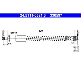 330597 ATE Länge: 320mm, Außengewinde: M10x1mm Bremsschlauch 24.5111-0321.3 günstig kaufen
