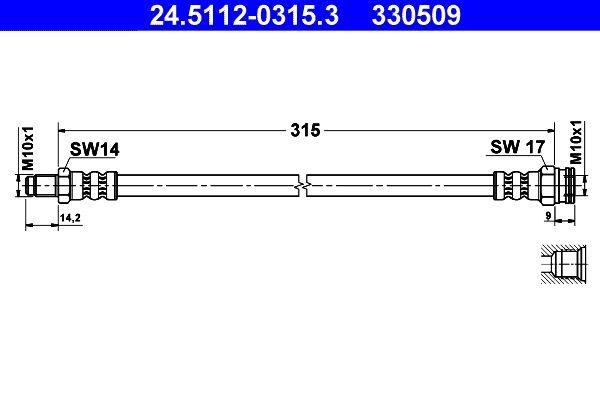 ATE: Original Bremsschlauch 24.5112-0315.3 (Länge: 315mm, Innengewinde: M10x1mm, Außengewinde: M10x1mm)