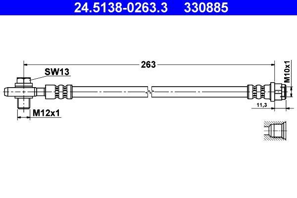 ATE: Original Rohre und Schläuche 24.5138-0263.3 (Länge: 263mm, Innengewinde: M10x1mm, Außengewinde: M12x1mm)