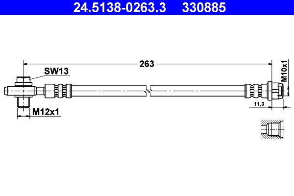Brake hose 24.5138-0263.3 ATE — only new parts