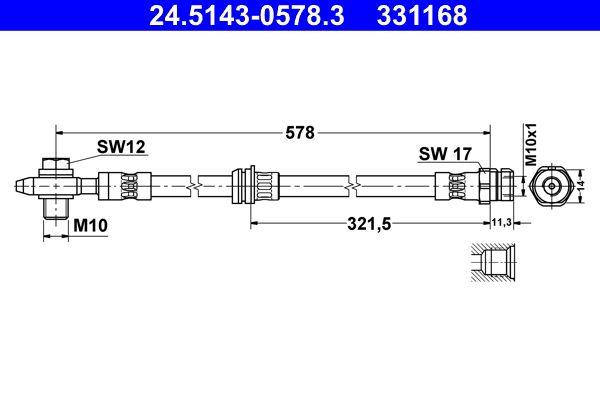 VW TIGUAN 2016 Bremsschläuche - Original ATE 24.5143-0578.3 Länge: 578mm, Innengewinde: M10x1mm, Außengewinde: M10x1mm