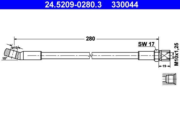 330044 ATE ohne Hohlschraube Länge: 280mm, Innengewinde: M10x1,25mm Bremsschlauch 24.5209-0280.3 günstig kaufen
