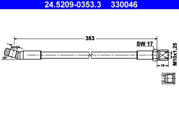 330046 ATE ohne Hohlschraube Länge: 350mm, Innengewinde: M10x1,25mm Bremsschlauch 24.5209-0353.3 günstig kaufen