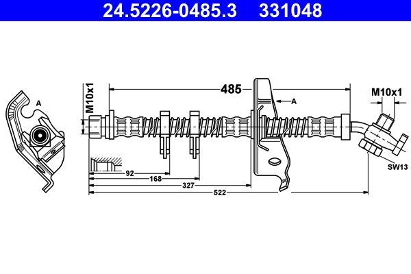 331048 ATE mit Hohlschraube Länge: 485mm, Innengewinde: M10x1mm Bremsschlauch 24.5226-0485.3 günstig kaufen