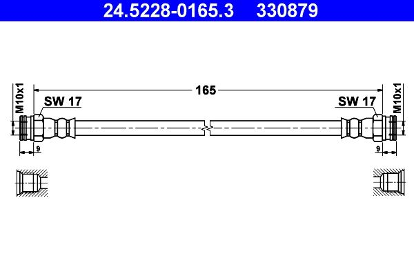 330879 ATE Länge: 165mm, Innengewinde 1: M10x1mm, Innengewinde 2: M10x1mm Bremsschlauch 24.5228-0165.3 günstig kaufen