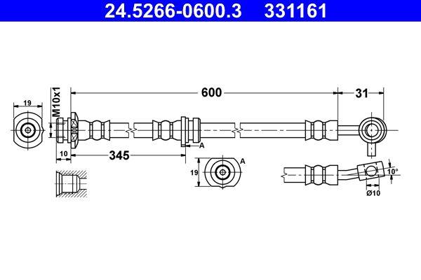 Bremsschlauch 24.5266-0600.3 Nissan QASHQAI 2018