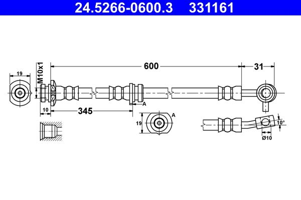 Bremsschlauch 24.5266-0600.3 Nissan QASHQAI 2016