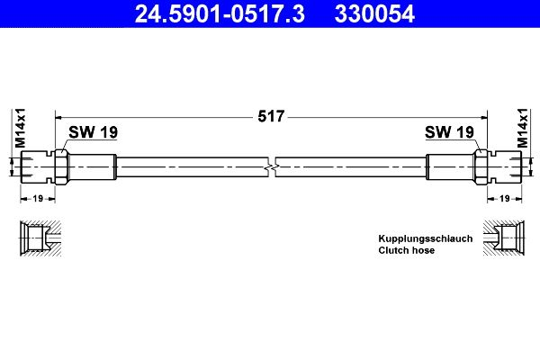 Clutch hose 24.5901-0517.3 ATE — only new parts