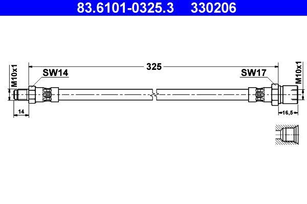 VW KARMANN GHIA 1972 Bremsschlauch - Original ATE 83.6101-0325.3 Länge: 325mm, Innengewinde: M10x1mm, Außengewinde: M10x1mm