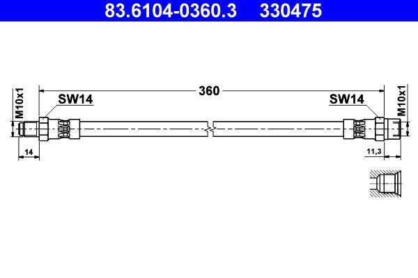 BMW ISETTA Teile: Bremsschlauch 83.6104-0360.3 jetzt bestellen