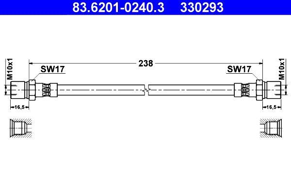 VW 181 1978 Bremsschläuche - Original ATE 83.6201-0240.3 Länge: 240mm, Innengewinde 1: M10x1mm, Innengewinde 2: M10x1mm