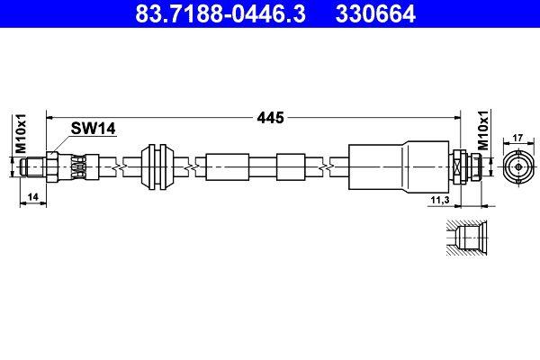 330664 ATE Länge: 470mm, Außengewinde: M10x1mm Bremsschlauch 83.7188-0446.3 günstig kaufen
