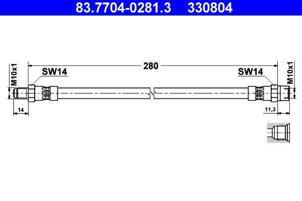 83.7704-0281.3 Bremsschlauch ATE Test