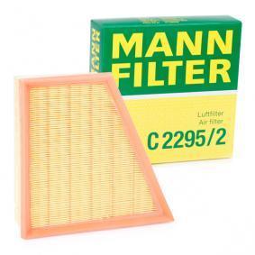 C 2295/2 MANN-FILTER Länge: 213mm, Breite: 220mm, Höhe: 58mm Luftfilter C 2295/2 günstig kaufen