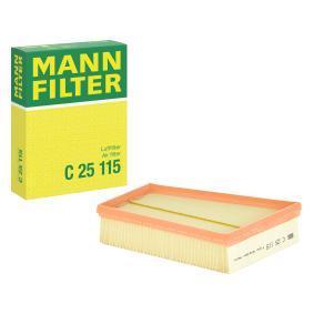 C 25 115 MANN-FILTER Länge: 247mm, Breite: 193mm, Höhe: 66mm Luftfilter C 25 115 günstig kaufen