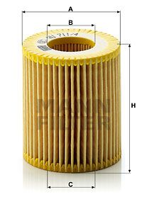 HU 711/4 x Alyvos filtras MANN-FILTER - Pigus kokybiški produktai