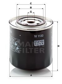 MANN-FILTER: Original Ölfilter W 1130 (Innendurchmesser 2: 62mm, Innendurchmesser 2: 62mm, Ø: 108mm, Außendurchmesser 2: 71mm, Höhe: 115mm)